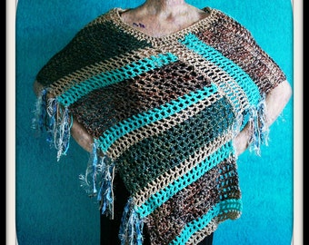 Crochet Poncho,Knit Shawl,Crochet Shawl,Knit Poncho,Lightweight Poncho,Womens Clothing,Gypsy Clothes,Hippie,One Size,Blue,Green,Tan,Fringe,