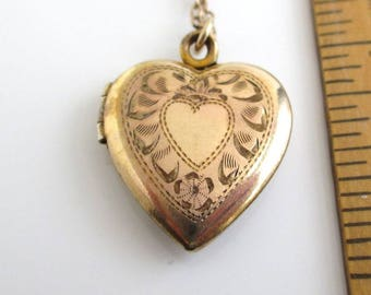 12K Gold Filled & Sterling Silver Double Heart Picture Locket Pendant Necklace - Vintage, Sweetheart