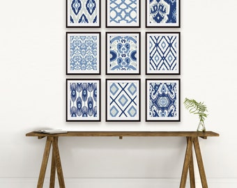 Ikat and Geometric Pattern (Series E2) Set of 9 - Art Prints (Featured in Shades of Deep Blue ) Navy Blue Ikat Wall Art
