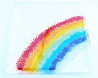 Fused Glass Rainbow Coaster