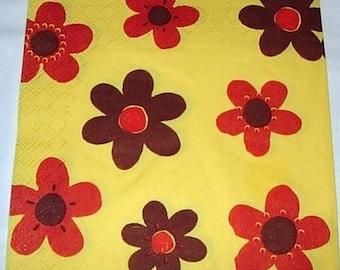 Stylized yellow background flowers napkin