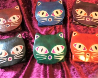 Cute cat purse - leather.  6 different colours