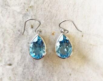 Sky Blue Topaz and Sterling Silver Bezel Set Drop Earrings