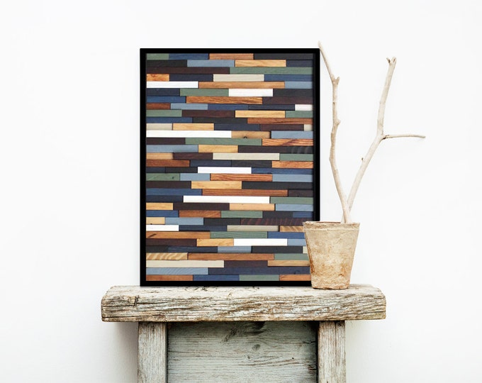 """Reclaimed Wood Art 18""""x24""""- """"Sea Crest"""" in Browns, Blues, Green, and White Stripes - Modern Wood Wall Art - Abstract Art"""