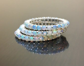 Silver Opal Engagement Band - Opal Eternity Band - Opal Wedding Band - Eternity Opal Band - Sterling Silver Opal Band - Opal Silver Band