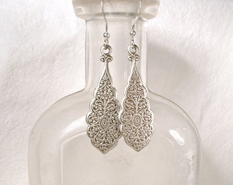 Art Deco Silver Lace Earrings, Sterling Dangle Art Nouveau Bridesmaid Earrings Bridal Drops 1920 Boho Old World Victorian Vintage Inspired
