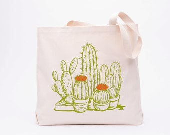 Cactus Tote Bag - Grocery Bag - Succulent - Canvas Tote Bag - Screen Printed Cotton Bag -  Large Canvas Shopper
