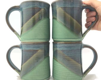 Set of 4 Ceramic Pottery Coffee Mugs --Twilight Blue / Olive Green Handmade stoneware ceramic cups -- Hand thrown ceramic mugs