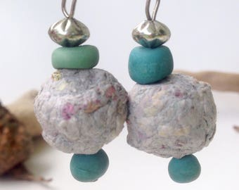 Upcycled earrings, recycled jewelry, grey paper earrings, paper bead jewelry, recycled paper bead, blue paper earrings, sustainable jewelry