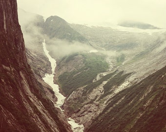 Alaskan Mountain Range Photograph Tracy Arm Fjord Landscape Photography Retro vintage style