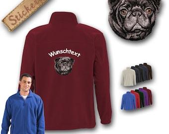Cosy fleece jacket jacket embroidery dog PUG BLACK Great gift idea