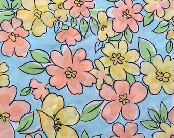 Sky Blue Floral Polyester / Blue Floral Polyester / Vintage Floral Polyester Fabric / Blue, Orange and Yellow Floral Fabric / Vintage Floral