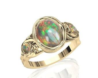 10x8mm australischen Opal Ring w / 2 rund geschnitten 3mm Opal in 14K oder 18K Gold SKU: R2286