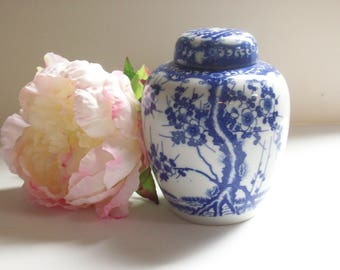 Blue and White Ginger Jar, Asian Chinoiserie Decor, Wedding Jar, Vase, Chinese Porcelain, Traditional Chic