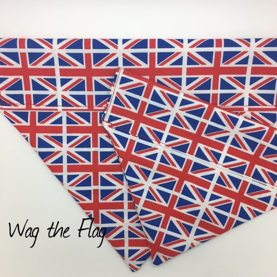 Dog Bandana, Wag the Flag, Union Jack Bandana, Dog Neckerchief, Luxury Dog Bandana