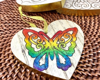Butterfly decor, Rainbow, Mother's Day, heart, gift for mom, grandma, rainbow heart, woodburned, FREE PERSONALIZATION