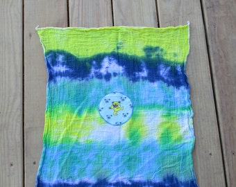 DANCING BEAR BURP Cloth, Tea Towel,  Wall Hanging, Tie Dye Grateful Dead Inspired, Hippie Baby shower gift