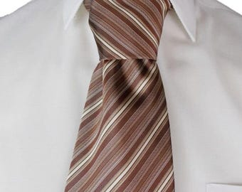 FRANGI Silk Tie Made in Italy Mens Striped Brown & Beige