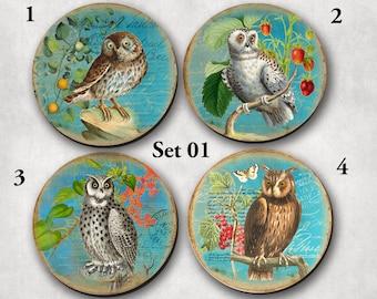 Coasters - Drinking Coasters, Shabby Owls, Antique, Round, Owls (0013)