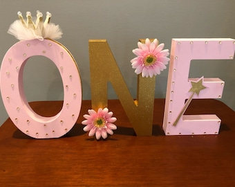 Wooden Princess Birthday Letters Sign *ONE*
