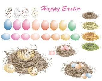 Easter clip art, Easter eggs, bird's nests floral digital clipart, huge set, vector, instant download