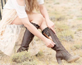 Boot Cuffs, Black Lace Boot Cuffs, Gift Ideas for Her, Boot Topper, Women Faux Leg Warmers, Knee High Accessory, Womens Girlfriend Wife