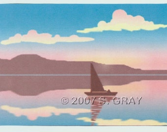 SALE ACEO Reflections II digital art print sailboat ocean sunset seascape limited edition nitelvr
