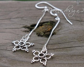 LET IT SNOW Dangling Shoulder-Duster Earrings - Sterling and Bali Silver - a Dorana design