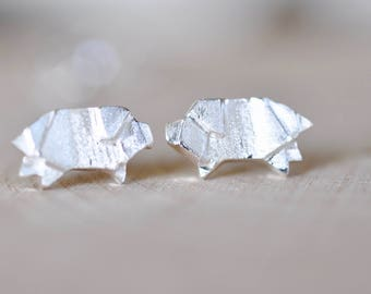 Sterling Silver Origami Pig Stud Earrings, Silver Pig Earrings, Origami Animal Jewelry, Origami Jewelry, Jamberjewels, Pig Jewelry