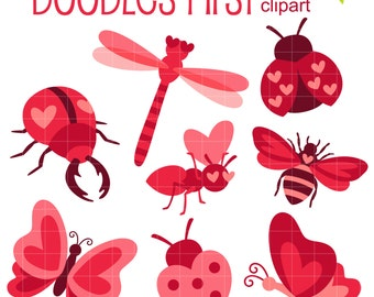 Love Bugs Digital Clip Art for Scrapbooking Card Making Cupcake Toppers Paper Crafts