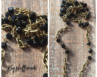 SALE Vintage Style Handmade Linked Rosary Chain 6mm black crystals 5x9mm antique brass plated link chain