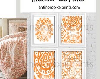 Art Medallion Blush Orange White Watercolor Collage Wall Art Set of (4) 8x10  #590149479 (Unframed)