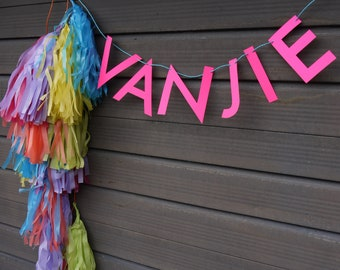 VANJIE Miss Vanjie inspired funny RuPaul's Drag Race letter banner, Mutha's day - paper garland in neon pink