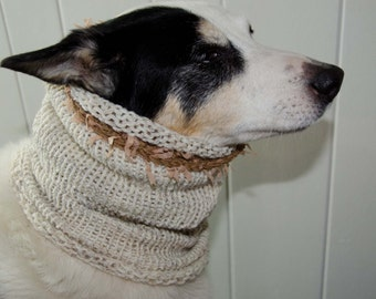 "Knit Dog Scarf/Cowl  Ivory Tweed Size Medium -  14 Circumference with Stretch. 18"" long  Fits  up to 20"" Neck OOAK Dog Accesories"