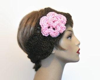 Brown Headband with Flower Brown Ear warmer Brown earwarmer Brown Headwrap Brown Crochet headwrap  Brown crochet hair wrap knit headband