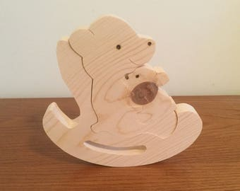 Wooden puzzle Mama bear and baby on rocker, free standing.
