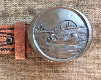 Indian Brass Belt Buckle - Indiana Metal Craft 1976