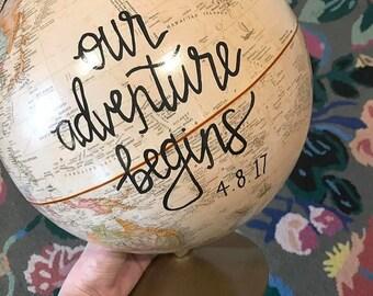 Customize me!! Extra large globe, Hand painted globe, quote globe, floral globe, gold base world globe, gold globe