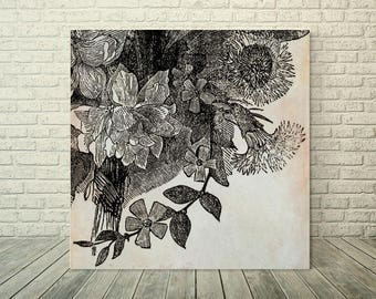 Yesterday's Flowers Eight: Printable Wall Art, Download, All Sizes, Gray, Red, Decor, Floral, Vintage, Contemporary, Free Accent Prints
