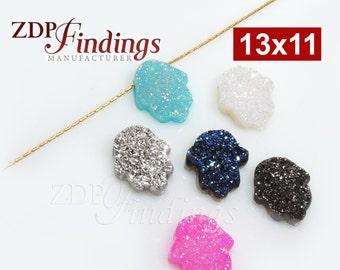 1pcs x 13x11mm High Quality Opal Hamsa Fatima Hand Bead Charm Pendant Natural Druzy Gemstone, Choose your Color - (DRUHV)