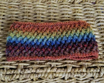 Crochet Rainbow Headband - Silk and Wool Blend Ear Warmer - Womens Earwarmer - Earwarmers for Children - Headband - Winter Apparel