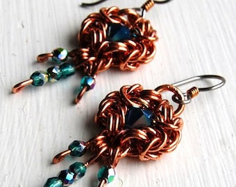 Copper Romanov Chainmail with Blue Opal Crystal Earrings