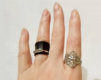 Irish jewelry, Irish ring, art nouveau, Celtic jewelry, Irish ring, silver clover, Irish charm, Celtic ring, spoon ring, BESPOKE size 4-12