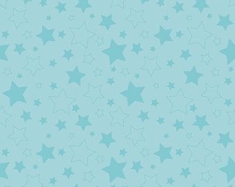 "STARS AQUA ~ 100% Cotton Fabric ~ 1/2 Yard Cut ~ 18"" x 44"" ~ Riley Blake Fabrics ~ c410-20 Aqua"