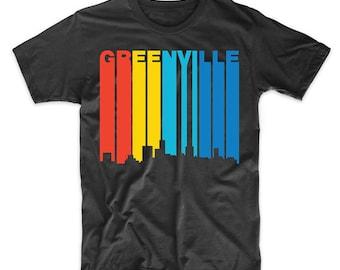 Retro 1970's Style Greenville South Carolina Skyline T-Shirt