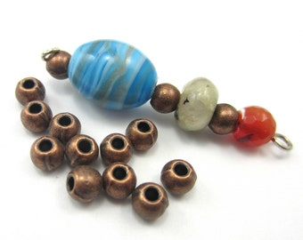 48 red copper beads round beads craft jewelry supplies 4.5mm copper beads metal beads red copper beads hp5285 (W2),