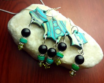 Emerald and Lime Green Star Shaped Polymer Clay Necklace and Earrings Set on 18' 925 Silver Chain