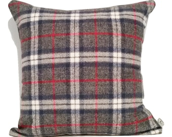 Plaid Wool Pillow Cover, Throw Pillow Cover, Flannel Pillow, Plaid Pillow, Made in Canada