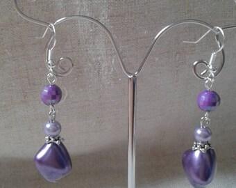 """boucles d'oreilles """"trio de perles violettes"""""""