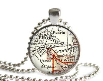 Phoenix Arizona map necklace charm, Phoenix pendant charms, Tempe Arizona photo pendant, Tempe keychain, college pendant, A104